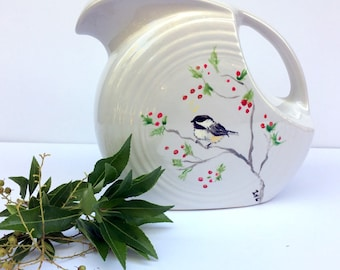 Vintage Homer Laughlin Pottery Pitcher,White Fiesta Ware,Hand Painted and Artist Signed,1940s,Dining and Serving,Bird and Red Berries