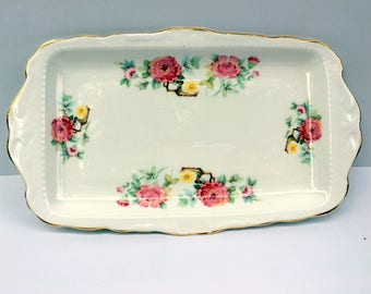 Vintage Royal Kent Bone China Vanity Tray,1950s,Ivory,Pink Rose Florals,Yellow Green,Home Decor,Ladies Vanity,Relish .Staffordshire England