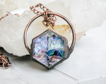 Electroformed Copper Necklace Boho necklace Blue Pink-gold Fused Glass Pendant Modern Jewelry Large Glass Pendant Statement necklace OOAK