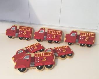 Fire truck Cookies - 1 dozen