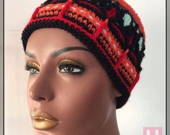 Colourful Crochet Hat - overlay crochet for winter, winter hat, african hat