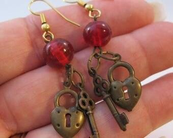 XMAS in JULY SALE Vintage Red Heart Lock & Skeleton Key Drop Dangle Earrings Costume Jewelry Jewellery