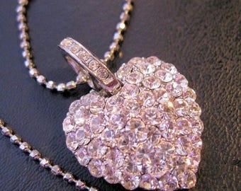 XMAS in JULY SALE Vintage Rhinestone Heart Pendant Fashion Necklace Jewelry