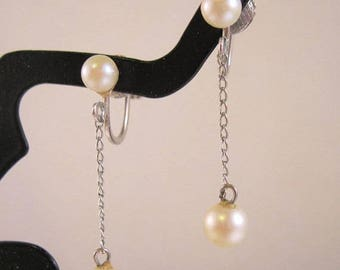 XMAS in JULY SALE Evco Sgd Genuine Sea Pearl Sterling Silver Drop Earrings Screw Back Vintage Jewelry Jewellery