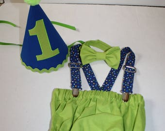 royal blue lime green cake smash outfit first birthday outfit 1st birthday hat suspenders diaper cover bow tie birthday hat