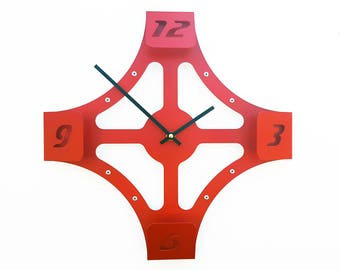 Folding Over V, Medium Wall Clock, Red Wall Clock, Unique Wall Clock, Modern Wall Clock, Steampunk Wall Clock, Industrial Clock