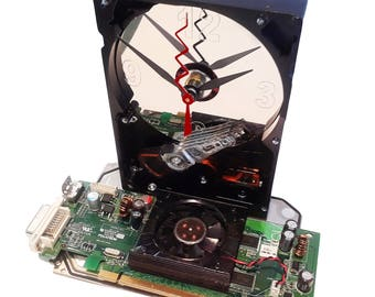 Hard Drive Clock has Graphics Circuit Board with Fan Attached as the Base. Great Holiday Gift, Office Gift, Secret Santa Gift, Desk Clock.