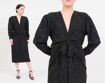 Vintage 80s Silk Black Dress   Plunging Neckline   V Neck Dress   1980s Minimalist Goth   Draped Cocktail Dress   Dolman Midi Dress   size M