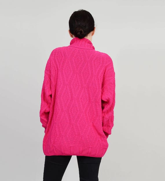 80s Pink Sweater Cotton Cable Knit Turtleneck Sweater