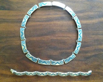 Vintage Taxco Mexico Necklace & Bracelet Set, Sterling Silver with Crushed Turquoise Inlay