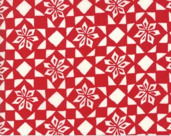 Stars in Ribbon Red Kate Spain MERRY MERRY by Moda Fabrics ...  27276 13  red, cream, Christmas, holiday, winter,