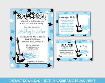 Blue Rock Star Boy Baby Shower Invitation, Diaper Raffle, Bring a Book Card Bundle Editable Text INSTANT DOWNLOAD bs-056