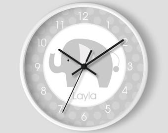 Gray and White Mod Elephant Nursery Wall Clock 10-inch / Elephant Nursery Clock / Gray Nursery Clock
