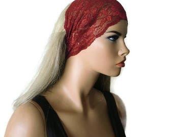Burgundy Stretch Lace Headband, Bridesmaids Hair Wrap-Anytime fashion-Summer headbands-Summer fashion (0028)