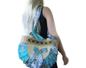HANDBAGS, PURSES, SHOULDER Bags,, Mix Material summer bag with bow and some gold.Turquoise- Adventure into Bag making