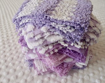 Vintage Chenille Fabric Quilt Squares - 50 - 6 inch squares, lavender & purple, 5 of 10 patterns - 500-165