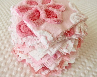 Vintage Chenille Fabric Quilt Squares - 60 - 6 inch squares, pinks, pairs - 500-176