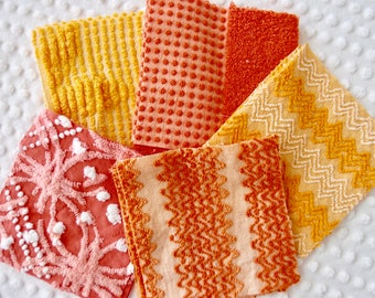 Vintage Chenille Fabric Quilt Squares - 15 - 6 inch squares, orange, gold & yellow - 500-284