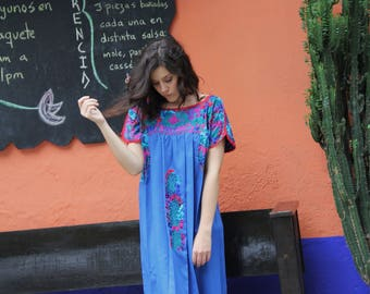 Blue with Multi colored embroidery Mexican Wedding Dress