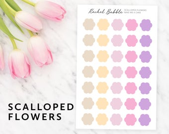 Scalloped Planner Stickers, Flower Planner Stickers, Erin Condren Stickers, Bullet Journal, Travelers Notebook, Stickers, Bake Me A Cake