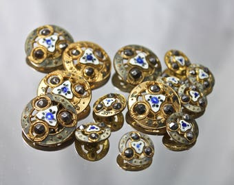 Antique Gold Tone Steel Cut Buttons, c1900, Antique Gold Tone Notions, Edwardian Era Gold Tone and Floral Themed Steel Cut Buttons