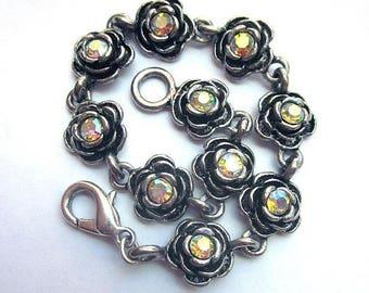 SALE Rhinestone Rose Bracelet