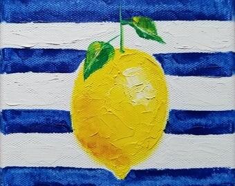 lemon oil painting stripes lemons still life food citrus fruit kitchen culinary cook cooking dining dine leaves garnish 6x6 - Sorrento Lemon