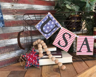 Ready to Ship - USA Patriotic Banner - Red White and Blue - Stars and Stripes - Memorial Day, Independence Day, 4th of July, Veterans Day