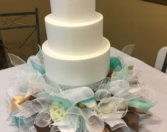 Wedding Cake Stand Skirt , Centerpiece for Cake , Mint and White Wedding Cake Display , Wedding Decor