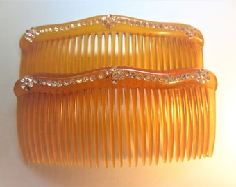 Vintage Hair Combs with Rhinestones, Vintage Celluloid or Plastic Hair Combs