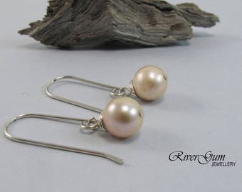 Pearl Earrings, Freshwater Pearl Earrings, Wire Wrapped, Pale Pink Pearls, Argentium Silver Earwires