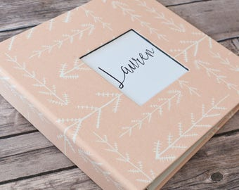 Baby Book, Baby Gift, Baby Album, Baby Memory Book, Baby Keepsake, Modern Baby Book, Pink/Coral Arrows
