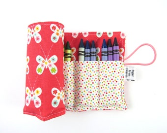 Crayon Roll - Coral Butterfly - crayon holder toddler gift girls gift preschool coloring kids journaling big sister gift stocking stuffer