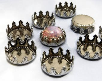 9mm Crown Settings 6 pcs Antique Silver Cabochon Settings Brass Stamping M-14