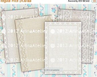 SALE - 30%OFF - Vintage Lace Cards - Shabby Chic Backgrounds - Digital Tags - Download Collage Sheet