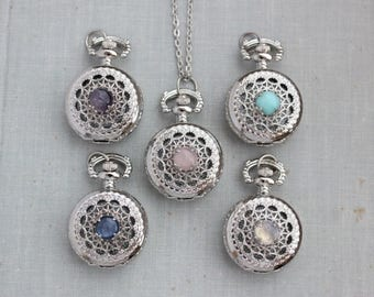 VACATION SALE- Gemstone Pocket Watch Necklace. Rose Quartz, Amazonite, Amethyst, Kyanite, or Rainbow Moonstone