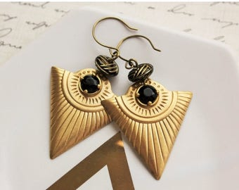 VACATION SALE- Modern Black and Gold Earrings
