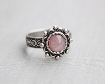 Rose Quartz Ring. Sunburst Ring