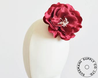 "Millinery Flower - Shiny Flower Applique - Red (5"")"