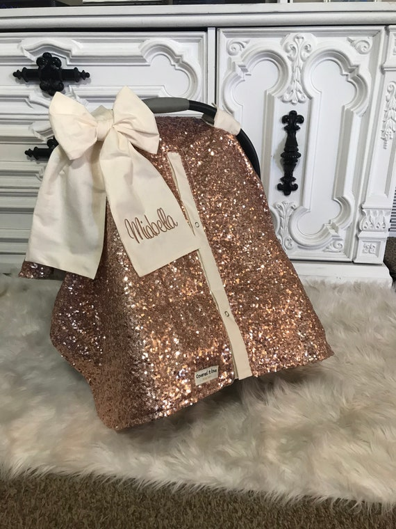 Rose Gold and Cream car seat canopy with bow and name / carseat cover / carseat canopy /sequin / infant car seat cover / gold / sparkle
