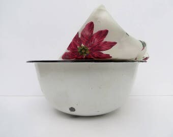 Large White and Black Trimmed Enamelware Bowl