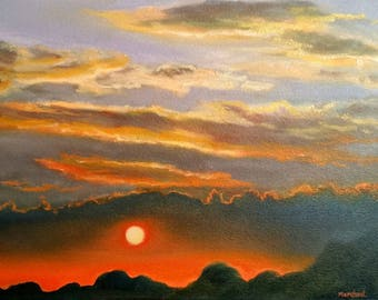 ORIGINAL OIL PAINTING Fine Art Sunset #9 Signed by Linda Merchant Oil on Oil Paper Sun Clouds Mountains