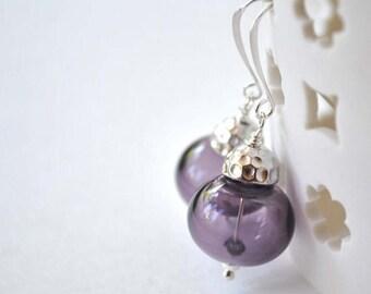 SALE Purple Earrings, Glass Bead Earrings,  Hollow Blown Glass Earrings, Light Weight Earrings