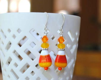 Halloween Earrings, Candy Corn Earrings, Lampwork Earrings Striped Earrings, Glass Bead Earrings, Orange Earrings