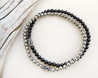 Men's Bracelet Pair, Black Onyx, Pyrite, Natural Stones, Minimalist, Yoga, Meditation, Handmade, Jewelry for Men, Gift for Man, Gift for Him