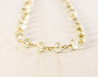 ON SALE Lemon Quartz Beaded Necklace – 14K Gold FIlled – Boho