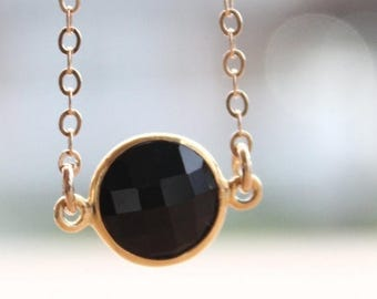 ON SALE Gold Black Onyx Gemstone Necklace - Mini Bezel Necklace - Black and Gold