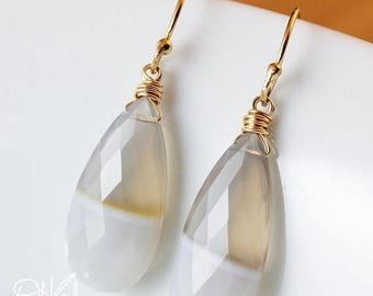 ON SALE Bi Colour Agate Earrings - Gemstone Earrings - 14K Gf