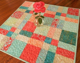 Table Topper in Aqua Teal and Coral Red Batiks, Quilted Square Table Topper, Dining Table Decor, Coffee Table Runner, Summer Table Decor