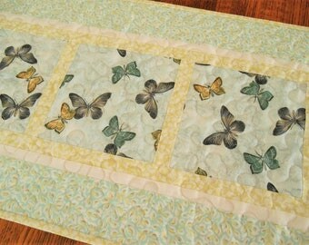 Butterfly Table Runner in Aqua Yellow and Gray, Quilted Table Runner with Butterflies, Blue and Yellow, Quilted Table Topper, Bedroom Decor